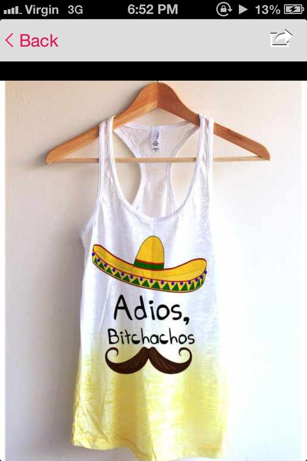 shirt adios white sombrero yellow moustache top