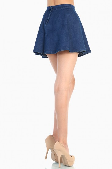 LoveMelrose.com From Harry & Molly | Dark Denim Skater Skirt