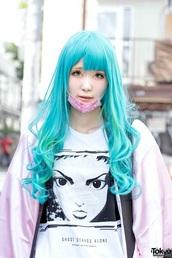 t-shirt,pink,anime,shirt,kawaii,kawaii girl,japan,japanese fashion,white t-shirt,pastel hair,pastel pink,ghost in the shell,manga