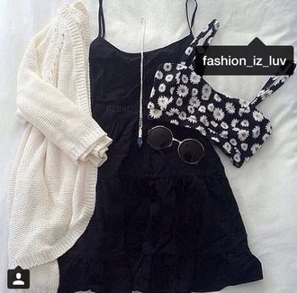 cardigan daisy outfit bralette black dress