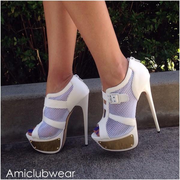 shoes white high heels golden heels sexy cute