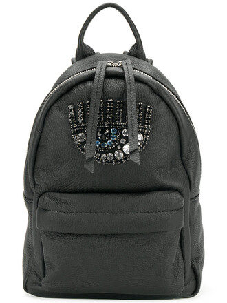 women embellished backpack leather black bag