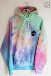 jacket,sweatshirt,cute,rainbow,tie dye