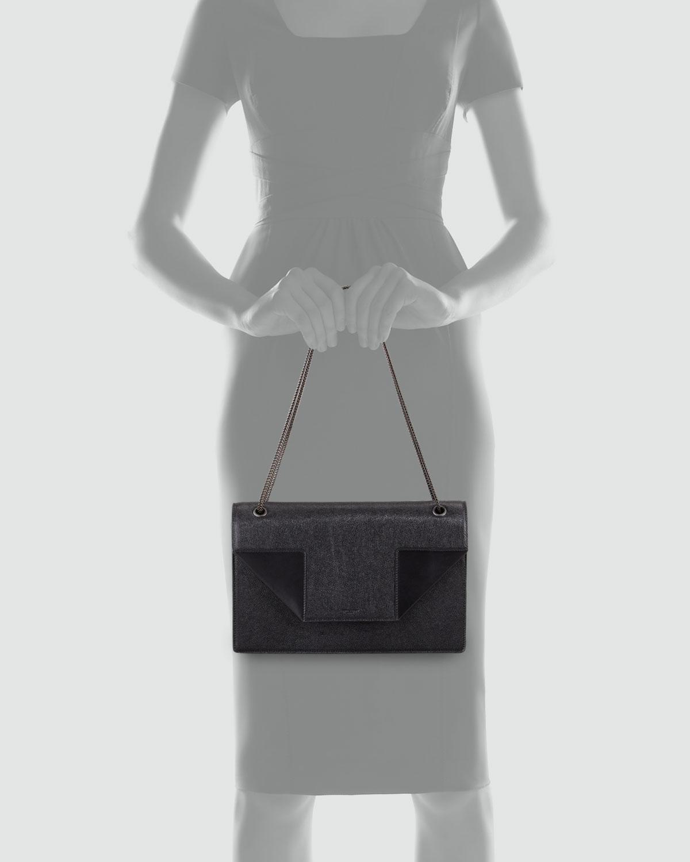 Saint Laurent Betty Medium Saffiano Chain Shoulder Bag, Black