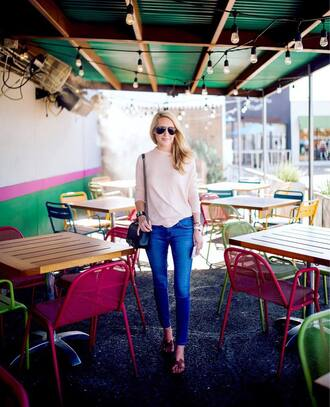 krystal schlegel blogger sweater jeans shoes bag jewels nude bag long sleeves nude sweater blue jeans slide shoes hermes shoes hermes black bag shoulder bag aviator sunglasses
