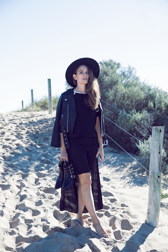 inspiring wit blogger dress black jacket black hat