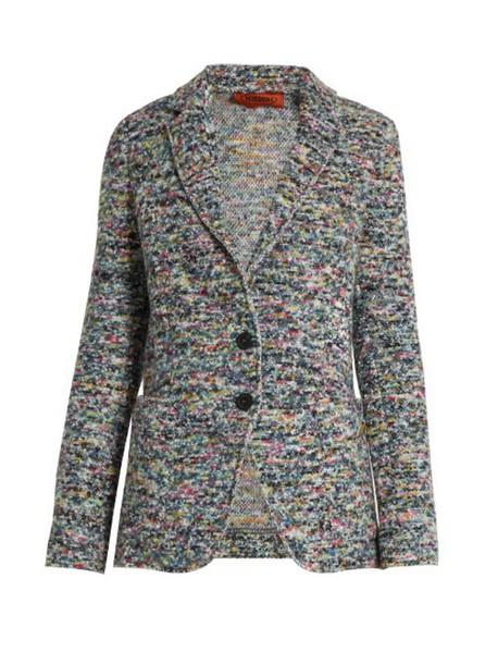 MISSONI Single-breasted tweed jacket in grey / multi