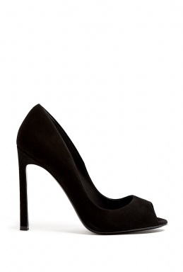 Kurt Geiger London | Christie Black Suede Peep Toe Court Shoe by Kurt Geiger London