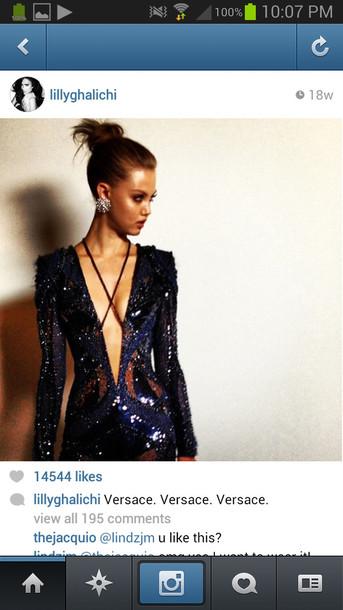 sequins long sleeve dress long sleeves v neck dress blue dress