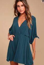 dress,blue dress,teal dress,casual,lulus,drape