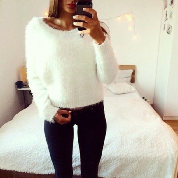 Sweater: white sweater, white, white fluffy, blouse, black jeans ...