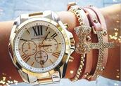 jewels,michael kors,bracelets,bow,crystal,rhinestones,cross,watch,gold,silver,pink,gold and silver watch