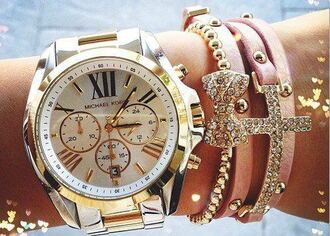 jewels michael kors bracelets bow crystals rhinestones cross watch gold silver pink gold and silver watch
