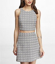 TWEED CROPPED ZIP BACK WOVEN TANK | Express