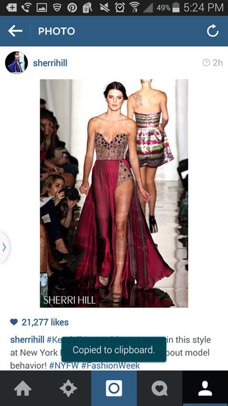 jewels slit sparkly high slit sherri sherri hill hill prom hoco homecomijg homecoming dress formal kendall kendall and kylie jenner gorgeous purple