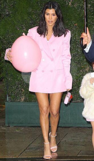 jacket blazer pink kourtney kardashian sandals oversized kardashians dress