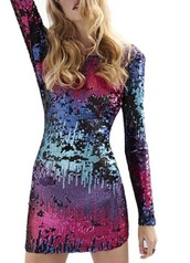 dress,multi,colored,sparkle,shiney,sexy,long sleeves,mini,short,sequins