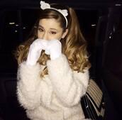 hat,ariana grande,cats,lace,lace headband,lace rabbit ears headband,headband,white dress,sweater,white,warm,cat ears,coat,ariana grande.,white cat,cute fuzzy sweater,white cat ears,hair accessory,hair band,wooly