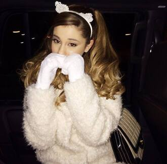 hat ariana grande cats lace lace headband lace rabbit ears headband headband white dress sweater white warm cat ears coat ariana grande. white cat cute fuzzy sweater white cat ears hair accessory hair band wooly