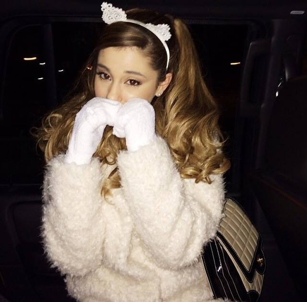 hat ariana grande cats cats lace lace headband lace rabbit ears headband headband white dress sweater white warm cat ears coat ariana grande ariana grande. white cat cute fuzzy sweater white cat ears hair accessory hair band wooly
