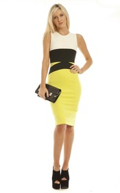 Fiora colour block midi dress in lime