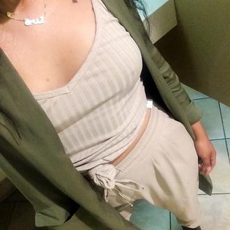 cardigan zara long olive green jacket