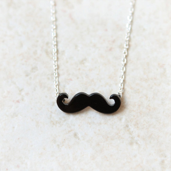 Black Mustache Necklace / Choose your chain color by laonato