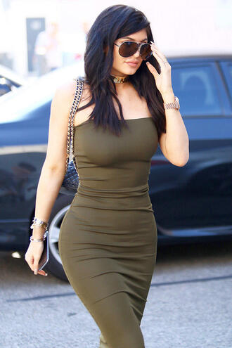 dress sexy dress bodycon dress kylie jenner celebrity olive green tube dress bustier dress jewels