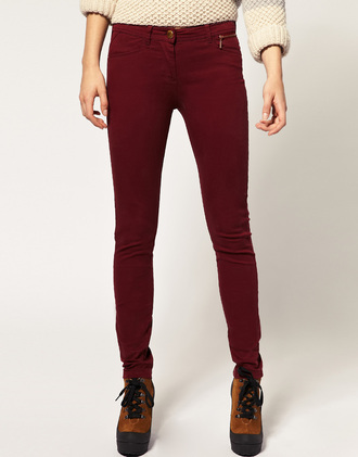 asos red jeans river island burgundy