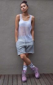 tank top,summer,shorts,shoes,active wear,timberlands,urban,mesh,lavender,lilac,dope,swag