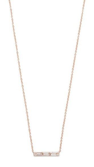mini rose gold rose clear necklace gold white jewels