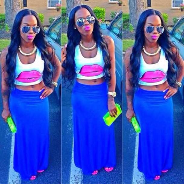 shirt skirt sunglasses