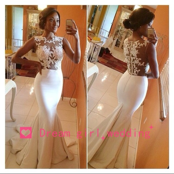 2014 New Sexy Scoop Neckling Sheer Lace Top Mermaid Prom Dresses Satin Formal Evening Dress Court Train Free Shipping BO5688-in Prom Dresses from Apparel & Accessories on Aliexpress.com