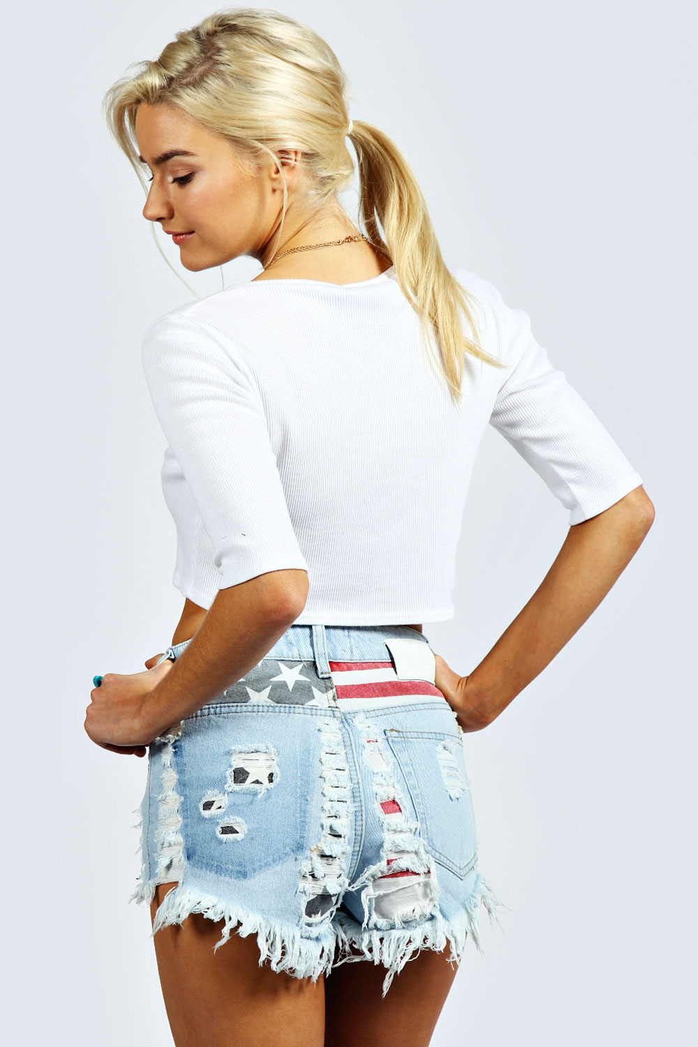 Chelsie USA Flag Distressed Denim Hotpants