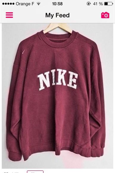 crewneck hoodie sweater bordeau #sweet #nike #nike sweeter