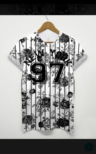 shirt new york shirt 97 white t-shirt black print grey print flower print shirt printed t-shirt