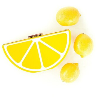 bag the shopping bag lemon yellow yellow clutch yellow handbag yellow purse lemon purse lemon clutch acrylic clutch fruit clutch fruits fruit accessories lemon accessories lemons lemon yellow vibrant accessories vibrant color quirky clutch accessory summer accessories