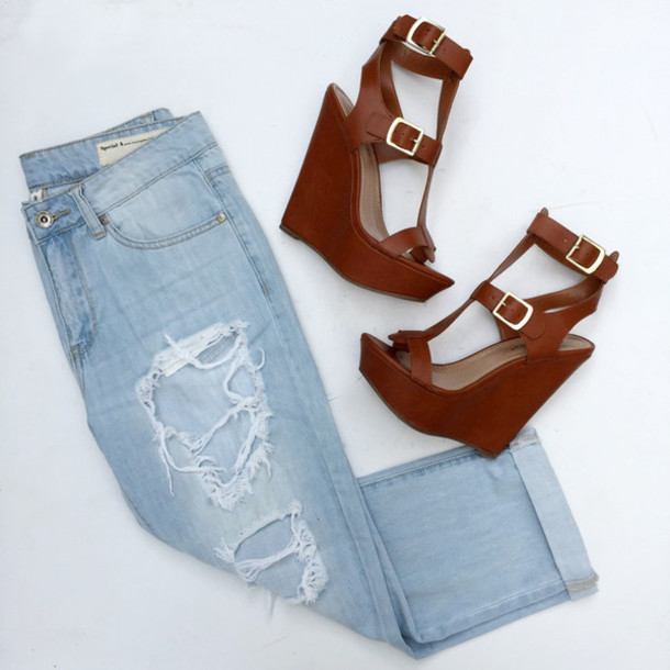 shoes, wedges, cute wedges, spring wedges, brown, jeans ...