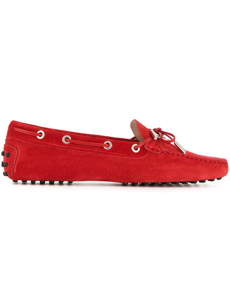 TOD'S casual women loafers lace leather suede red shoes