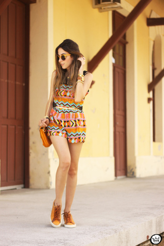 fashion coolture blogger sunglasses romper pattern orange sneakers