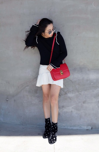 posh classy mom – a lifestyle blog by sheree blogger skirt shoes bag red bag shoulder bag bell sleeves white skirt ankle boots spring outfits