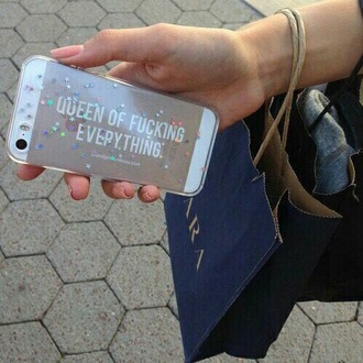phone cover sparkly stars queen of fucking everrything clear iphone 5 case