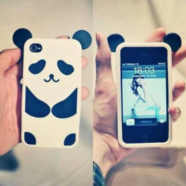 jewels white iphone panda phone cover black cute