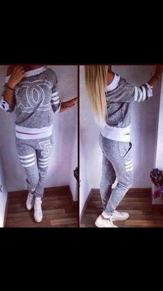blouse cc shirt cc logo grey sweater pants