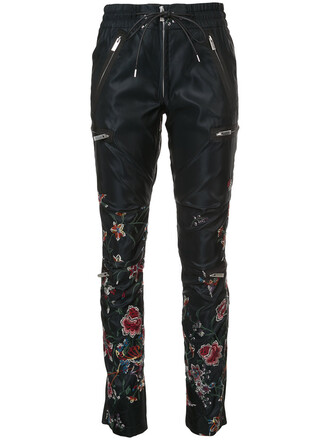 pants track pants embroidered women floral black