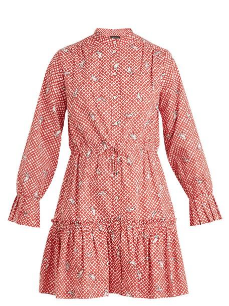 Saloni dress cotton print white red