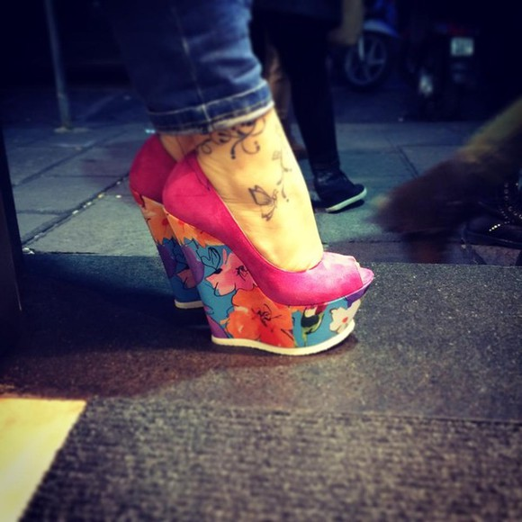 shoes pink shoes wedges floral print shoes