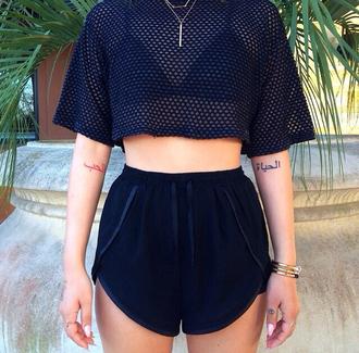 blouse shirt blackshirt sheer shirt black shorts black shirt shorts\ shorts high waisted shorts