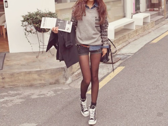 denim shorts blouse grey blouse high top sneaker