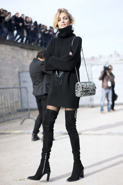 afa9fb4ea32 le fashion image blogger sweater dress bag tights sweater dress turtleneck  dress boots over the knee